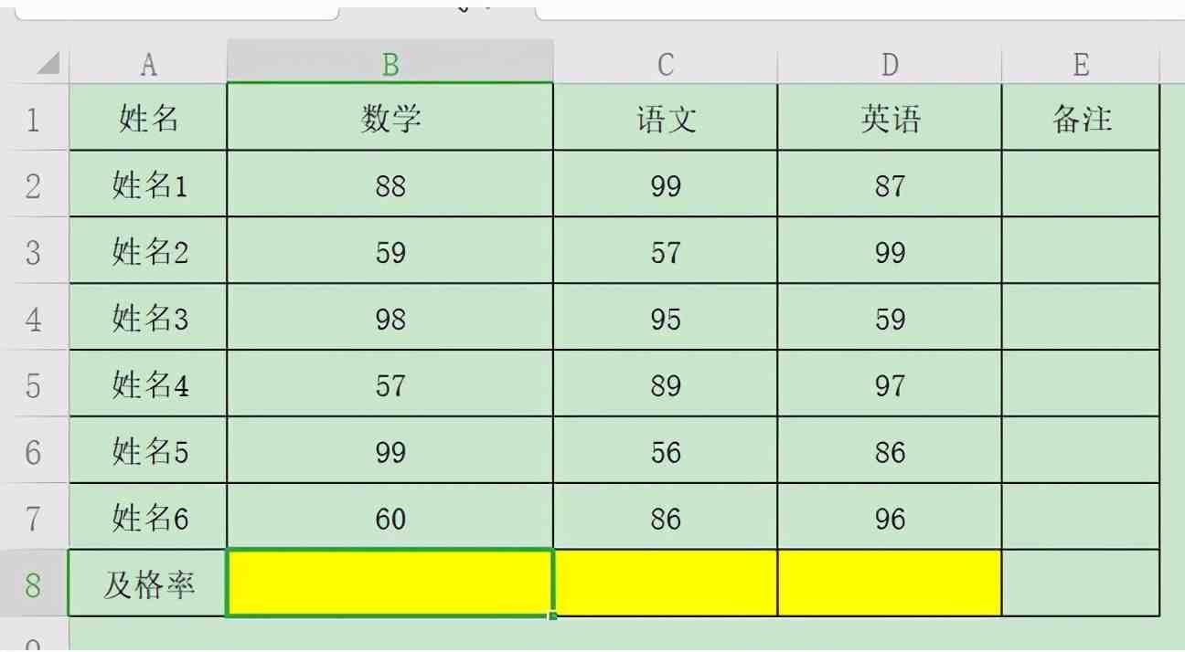 Excel表格技巧—计算及格率的方法